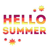 Banner with the effect of cutting. Banner Hello summer. Web banner for summer offers. 3d banner text hello summer Stock Images