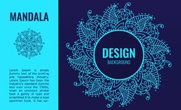 Banner with Elegant blue mandala on dark blue background. Decorative ornate circle mandala. A symbol of life and health. Vector illustration vector illustration