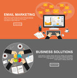 Banner for email marketing and business solutions. Flat design illustration concepts for email marketing, business, management, analysis, marketing, business Stock Image
