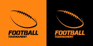 Banner or emblem design with American Football ball silhouette i Stock Photo