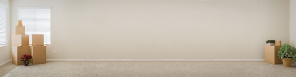 Banner of Empty Room with Blank Wall, Boxes and Plants. stock photos