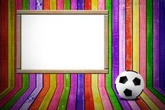 Banner en voetbalbal stock afbeeldingen