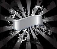 Banner en wervelingen op grunge royalty-vrije illustratie