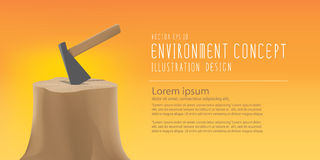 Banner the environmental problems of deforestation, And tool for. Illustration vector banner the environmental problems of deforestation, And tool for make Royalty Free Stock Photo