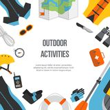 Banner equipment sports and outdoor flat design Stock Images