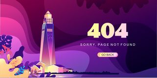 Banner 404 error lighthouse. 404 Page Not Found Error, illustration Beacon is surrounded by storm waves in retro graphic style, purple colors, Social network stock illustration