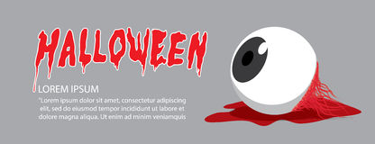 Banner of eyeball on the floor on Halloween in order to makes th. Illustration vector banner of eyeball on the floor on Halloween in order to makes the horror Stock Image