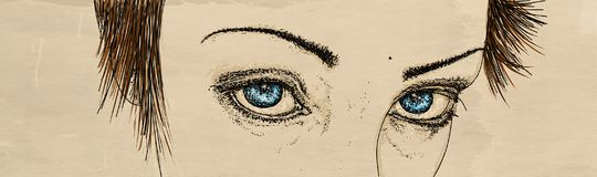 Banner with eyes of intense looking woman. Comic Royalty Free Stock Photography
