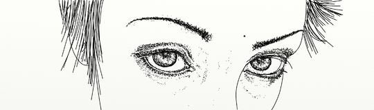 Banner with eyes of intense looking woman. Comic Stock Photos