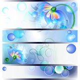 Banner with fairy mum and baby flowers. Banner with fairy blue mum or dad and baby flowers Stock Photos