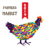 Banner for the farmers product with hen, funny design Stock Image