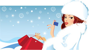 Banner of fashion girl in winter fluffy clothes holding a card in his hand, shopping Royalty Free Stock Image