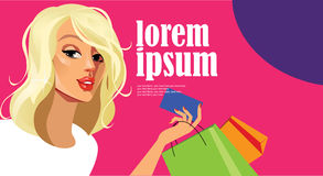 Banner of fashionable blonde girl holding a card in his hand, fashion shopping, gift coupon Stock Images
