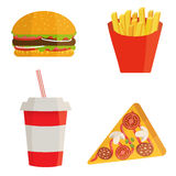 Banner with fast food with cola, hamburger and fries Royalty Free Stock Image
