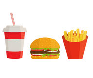 Banner with fast food with cola, hamburger and fries Stock Image