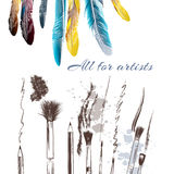 Banner with feathers and brushes Royalty Free Stock Image