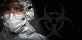 Banner of Female Doctor or Nurse In Medical Face Mask and Protective Gear With Bio-hazard Sign
