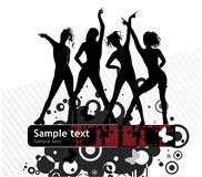 Banner with female silhouettes. Vector drawing of the banner with female silhouettes and abstract pattern Stock Photo