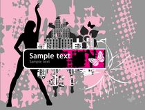 Banner with female silhouettes. Grunge background with female silhouettes Stock Images