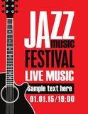 Banner for festival jazz music with a guitar Stock Photos