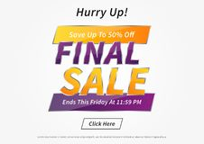 Banner Final Sale horizontal vector illustration. Poster Final Sale creative concept for websites, retail stores, advertising. Flyer layout Final Sale A4 size Royalty Free Stock Image