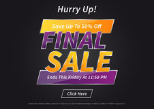Banner Final Sale vector illustration on black background Royalty Free Stock Photography