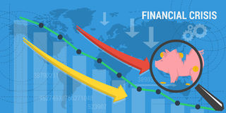 Banner financial crisis. Vector business concept of financial crisis. Web banner. Concept analytics, earnings growth. Schedule growth and arrows plummets down Stock Image