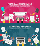 Banner for financial management and marketing research. Flat design illustration concepts for finance, business management, analysis, marketing, business Royalty Free Stock Images