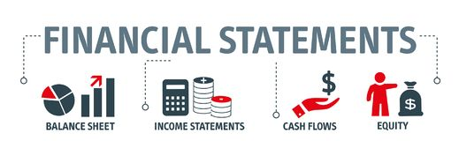 Banner financial statements concept vector illustration. With keywords and icons Stock Photography