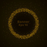 Banner of fine gold particles. Beautiful, glowing background for the holiday. Small stars on a dark background. Bright particles i. N motion. Vector illustration Royalty Free Stock Image