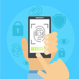 Banner fingerprint scanning. Vector flat illustration Stock Photo