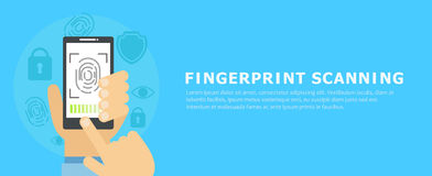 Banner fingerprint scanning. Vector flat illustration Royalty Free Stock Photography