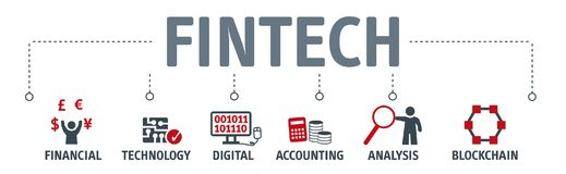 Banner Fintech Investment Financial Internet Technology Concept. Banner Fintech Internet Concept. text and Investment Financial Technology vector icons Stock Images