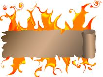 Banner with fire Stock Photo