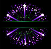 Banner with fireworks. Black horizontal banner on the background of fireworks against a black background Stock Photography