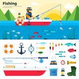 Banner Fisherman on Lake. Items Fishing Icon Set Royalty Free Stock Photo