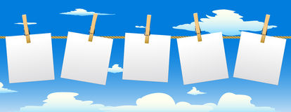 Banner with five paper notes. Banner with five paper notes hanging on rope.Vector illustration vector illustration