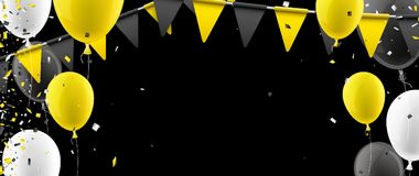 Banner with flags and balloons. Black banner with yellow flags, balloons and confetti. Vector illustration Royalty Free Stock Images
