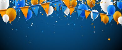 Banner with flags and balloons. Festive banner with blue and orange flags and balloons. Vector illustration Stock Photography