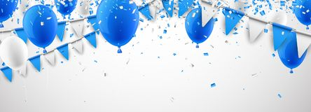 Banner with flags and balloons. Festive banner with blue and white flags and balloons. Vector illustration Royalty Free Stock Photos