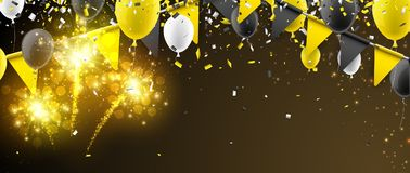 Banner with flags, balloons and fireworks. Banner with yellow flags, balloons and fireworks. Vector illustration Royalty Free Stock Photography