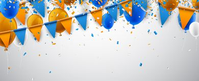 Banner with flags and balloons. White banner with blue and orange flags and balloons. Vector illustration Stock Photo