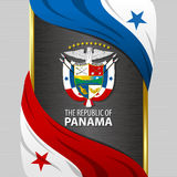 Banner with flags and coat of arms of The Panama Royalty Free Stock Image