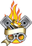 Banner and flame. Engine pistons, banner and flame tattoo Royalty Free Stock Photography