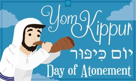 Bearded Jewish Man Blowing a Shofar Horn for Yom Kippur, Vector Illustration Stock Photo