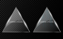 A banner from a flat realistic triangle with sharp corners, a hexagon and from a shining, bright 3d glass on a dark transparent ba Royalty Free Stock Photography