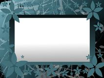 Banner on floral background in blue tones Royalty Free Stock Photos