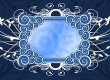 Banner on floral background in blue Royalty Free Stock Image