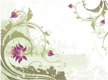 Banner with floral ornament. Against grunge background Stock Photo