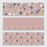 Banner floral pattern. Three banner with floral pattern. Submitted as a set. Banners with a pattern of small decorative flowers. There are fields for labels Stock Images